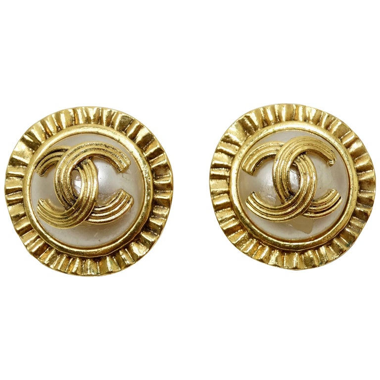 Chanel 1994 CC Clip-On Earrings  For Sale