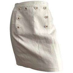 Chanel 1994 Spring Cream Linen Short Skirt Size 4.