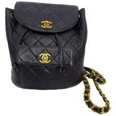 CHANEL 1995 Black Quilted Leather Backpack