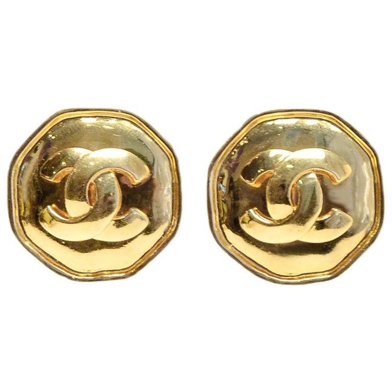 Chanel 1995 Goldtone CC Clip On Earrings