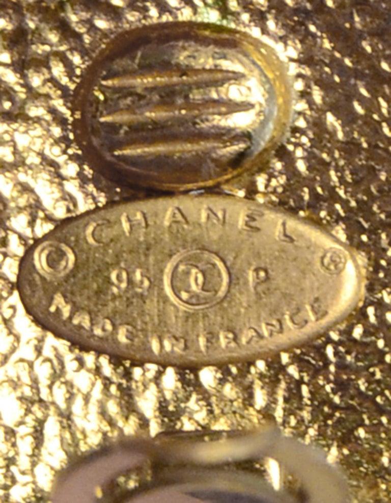 Women's or Men's Chanel 1995 Goldtone CC Clip On Earrings