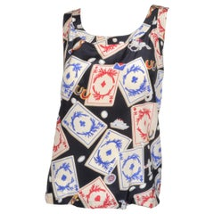 Chanel 1995 Vintage Playing Cards Print Silk Top