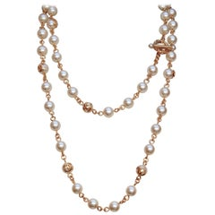 CHANEL 1995P Long faux-pearl beaded necklace