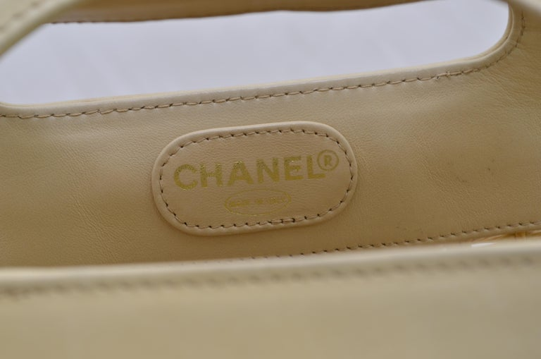 Chanel 1996-97 Vintage Beige Leather Woven Tote Bag 6