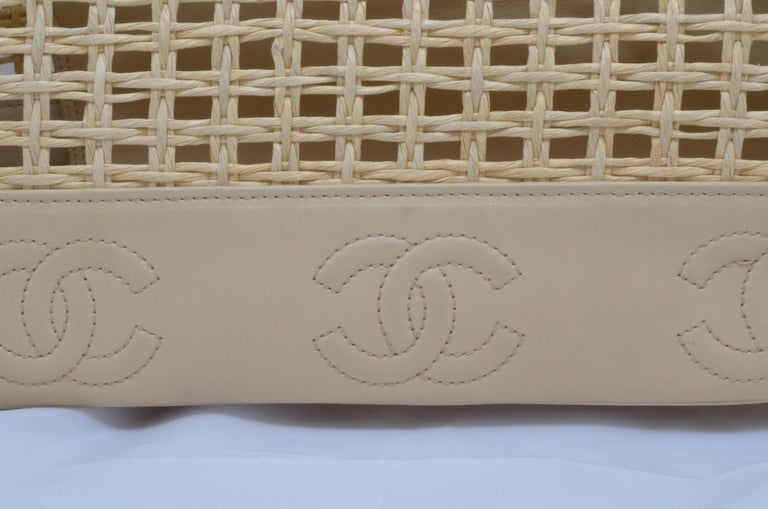 Chanel 1996-97 Vintage Beige Leather Woven Tote Bag 3