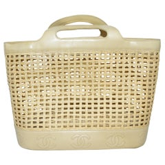 Chanel 1996-97 Vintage Beige Leather Woven Tote Bag