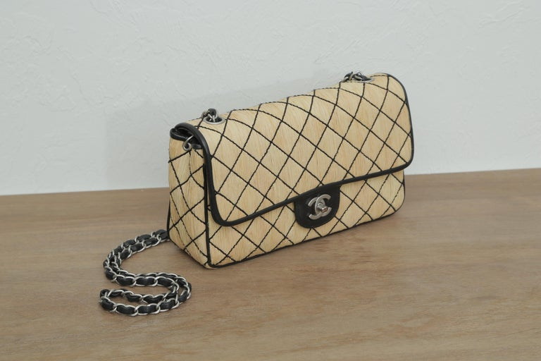 Women's Chanel 1997 Classic Flap Single with Black Leather Beige Raffia Shoulder Bag For Sale