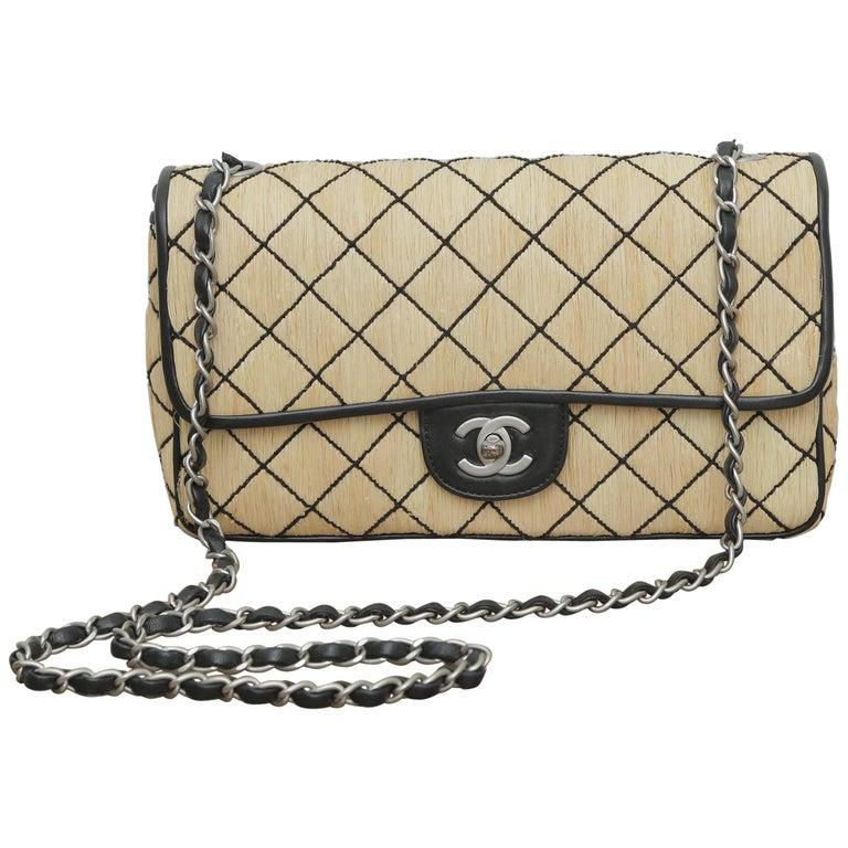 Chanel 1997 Classic Flap Single with Black Leather Beige Raffia Shoulder Bag For Sale