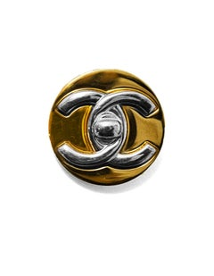 Chanel 1997 Vintage Gold & Silvertone CC Twistlock Brooch Pin