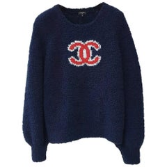 Chanel 19K Fall  Winter  CC Coco Navy Wool  Sweater