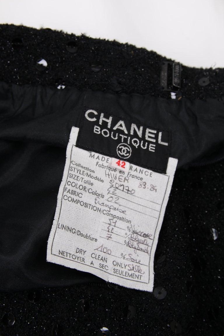 Black Chanel 2-pcs Sequin Suit Jacket & Skirt - black 1983 For Sale