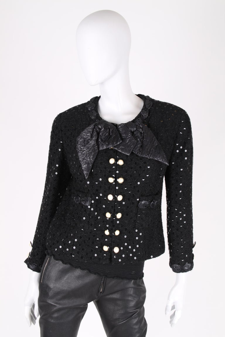 Chanel 2-pcs Sequin Suit Jacket & Skirt - black 1983 For Sale 1