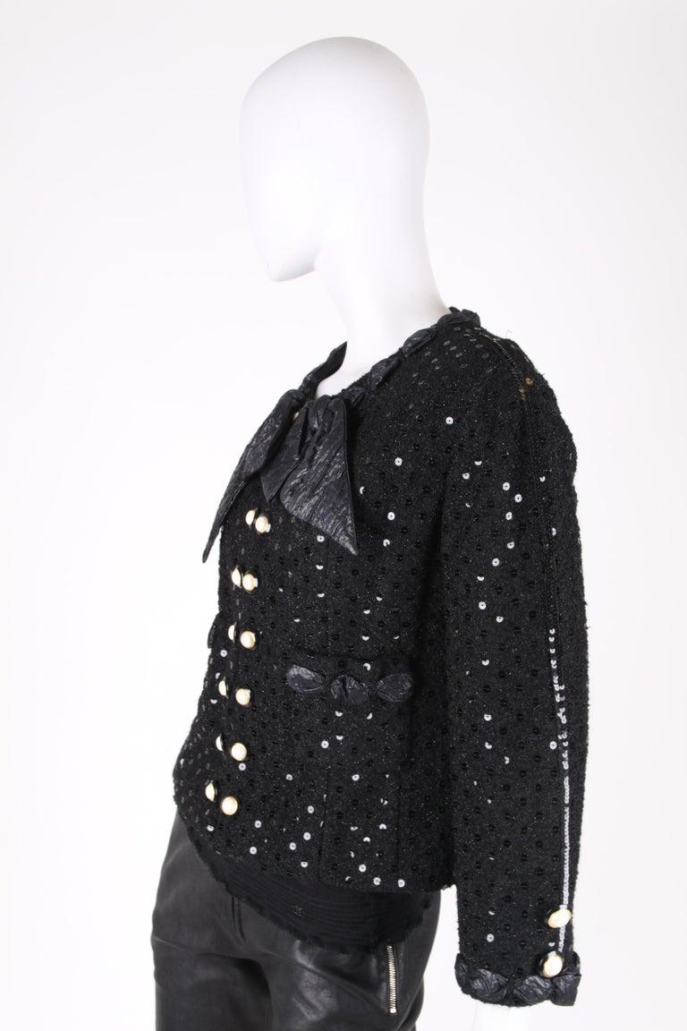 Chanel 2-pcs Sequin Suit Jacket & Skirt - black 1983 For Sale 2