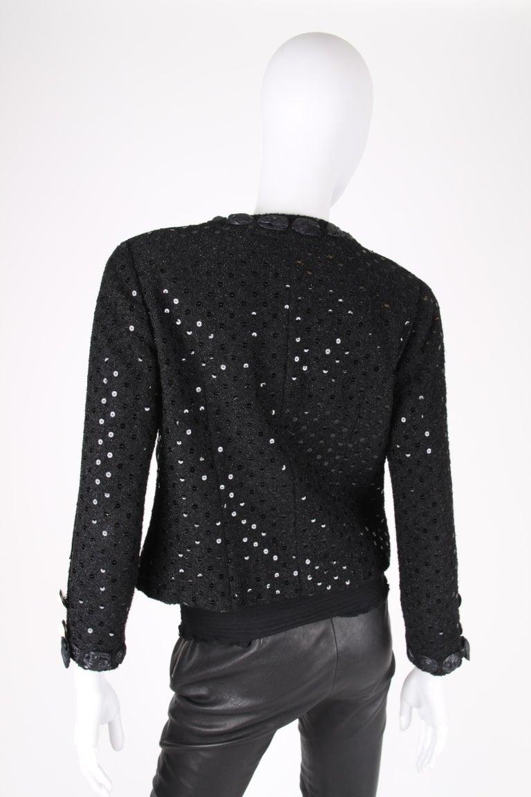 Chanel 2-pcs Sequin Suit Jacket & Skirt - black 1983 For Sale 4