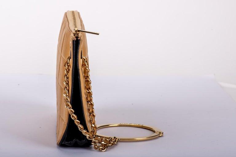 Brown Chanel 2 Tone Wristlet Evening Bag