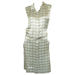 Chanel 2000 A Silk Grid Print Belted Dress
