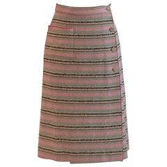 Chanel 2000 Cruise Collection Pink, Green, Natural, Red Stripe Pencil Skirt