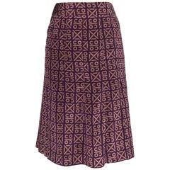 Chanel 2000 Runway Coco Logo Print Purple and Tan Silk Pleated Skirt