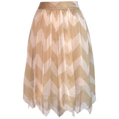Chanel 2000 White and Tan Silk Chevron Skirt
