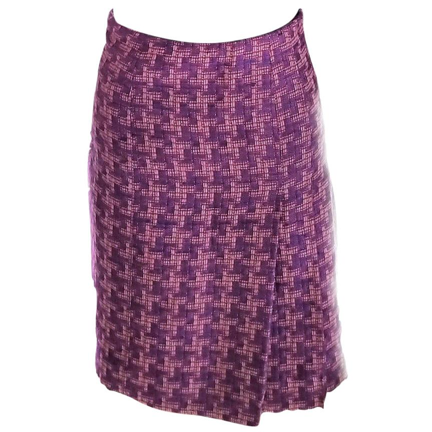 Chanel 2001 01P Pink, Plum, Coral A-Line Fantasy Tweed Skirt FR 38/ US 4 6