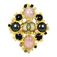 Chanel 2001 Black & Pink Stone CC Brooch w/ Faux Pearls & Crystals