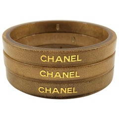 Chanel 2001 Cruise Collection Set of 3 Gold Flecked Resin Stacking Bangles