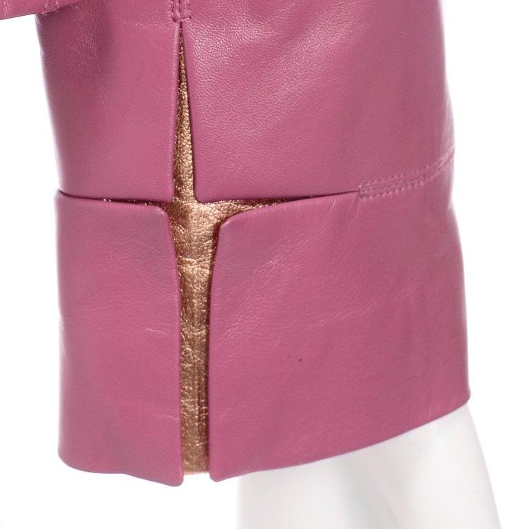 Chanel 2001 Cruise Pink Collarless Lambskin Leather Jacket W Gold Star Cutouts 6