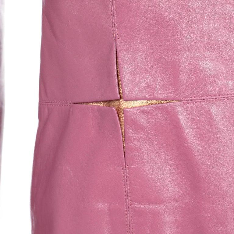 Chanel 2001 Cruise Pink Collarless Lambskin Leather Jacket W Gold Star Cutouts 7