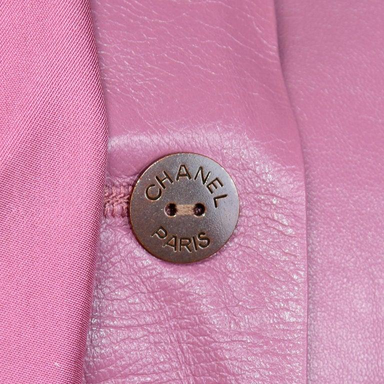 Chanel 2001 Cruise Pink Collarless Lambskin Leather Jacket W Gold Star Cutouts 9