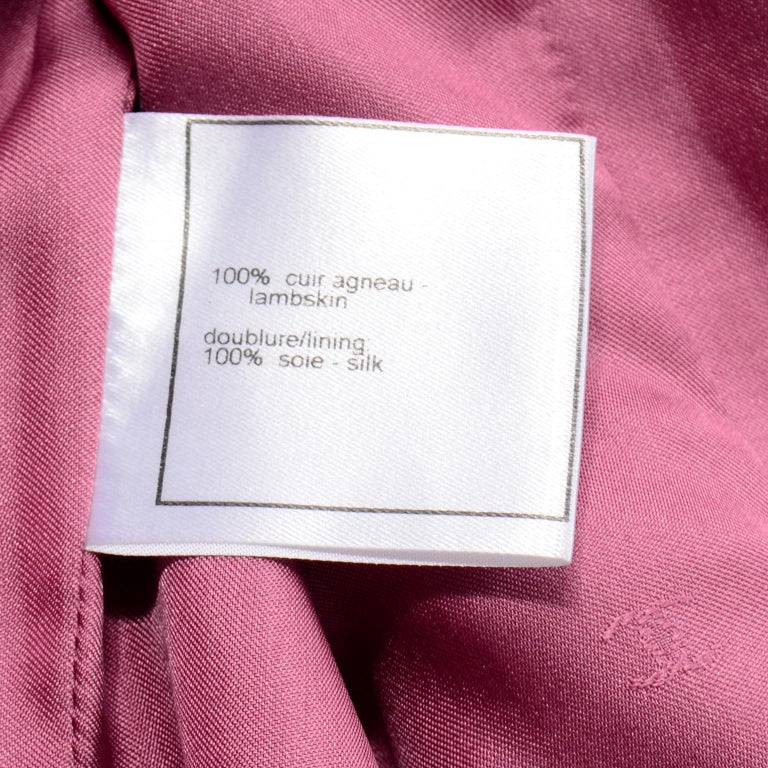 Chanel 2001 Cruise Pink Collarless Lambskin Leather Jacket W Gold Star Cutouts 11