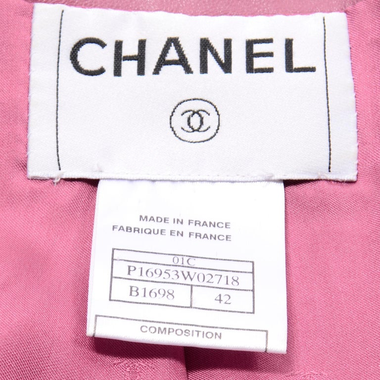 Chanel 2001 Cruise Pink Collarless Lambskin Leather Jacket W Gold Star Cutouts 12