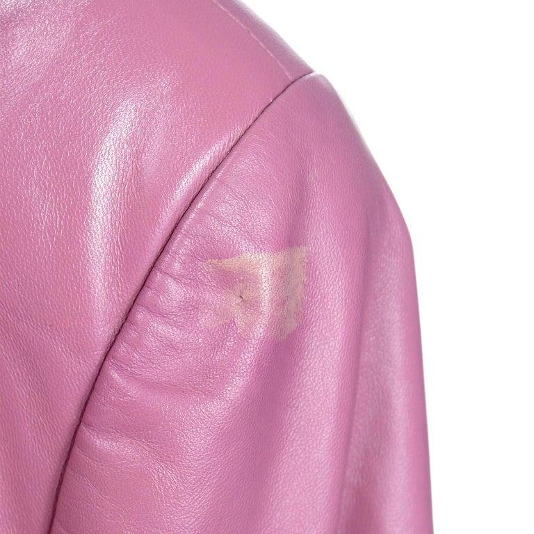 Chanel 2001 Cruise Pink Collarless Lambskin Leather Jacket W Gold Star Cutouts 13
