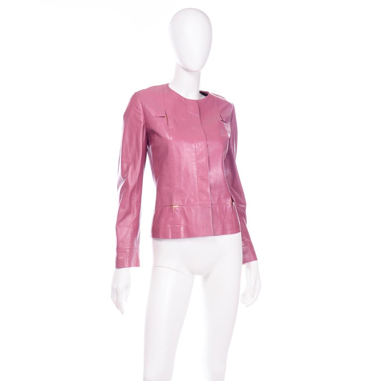 Chanel 2001 Cruise Pink Collarless Lambskin Leather Jacket W Gold Star Cutouts In Good Condition In Portland, OR