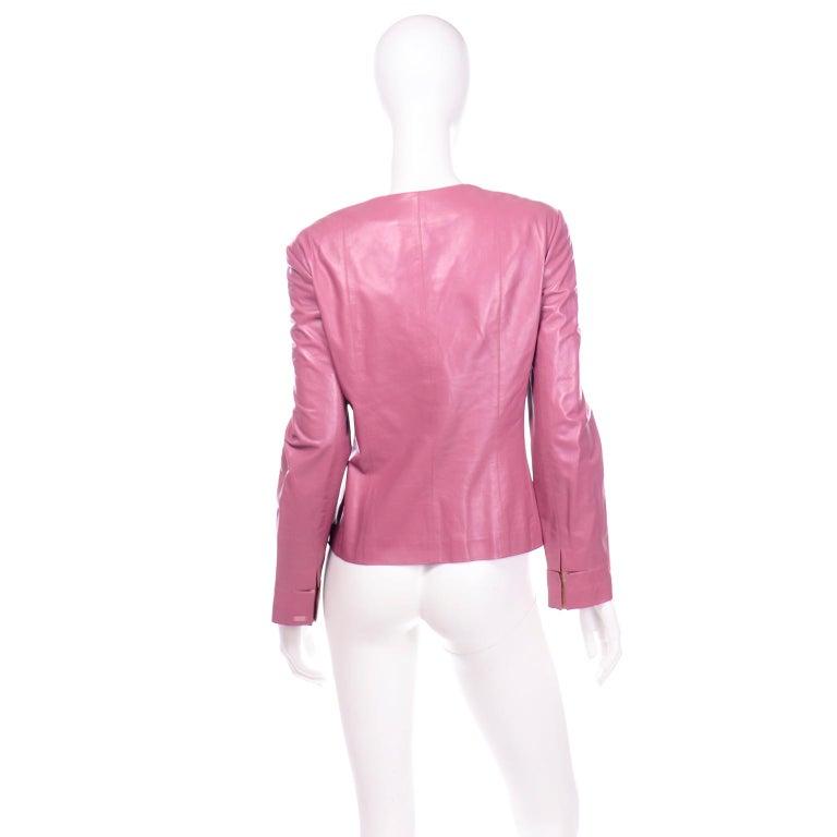 Women's Chanel 2001 Cruise Pink Collarless Lambskin Leather Jacket W Gold Star Cutouts