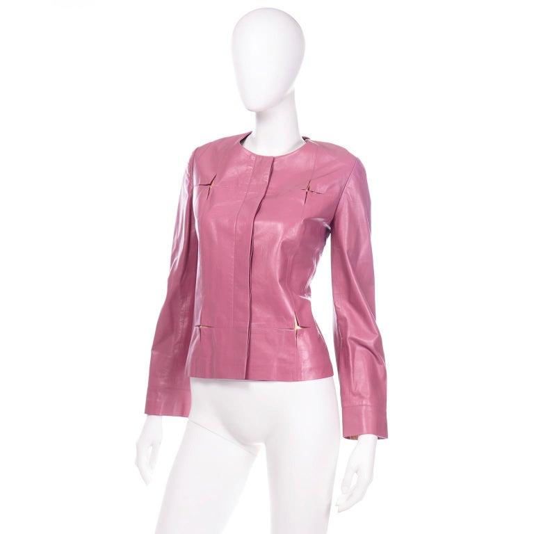 Chanel 2001 Cruise Pink Collarless Lambskin Leather Jacket W Gold Star Cutouts 1