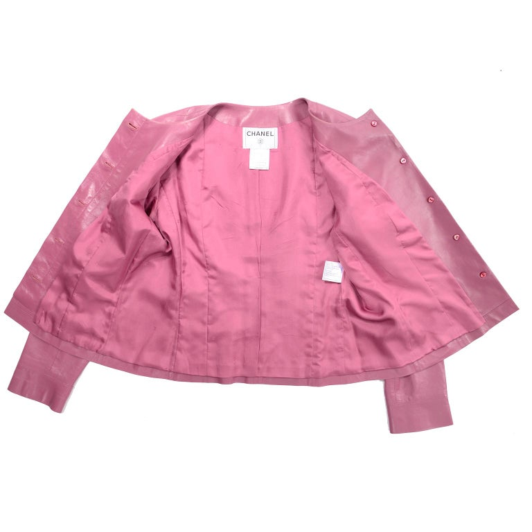 Chanel 2001 Cruise Pink Collarless Lambskin Leather Jacket W Gold Star Cutouts 2