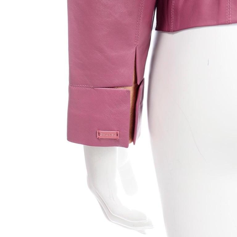 Chanel 2001 Cruise Pink Collarless Lambskin Leather Jacket W Gold Star Cutouts 3