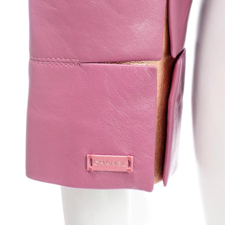 Chanel 2001 Cruise Pink Collarless Lambskin Leather Jacket W Gold Star Cutouts 4