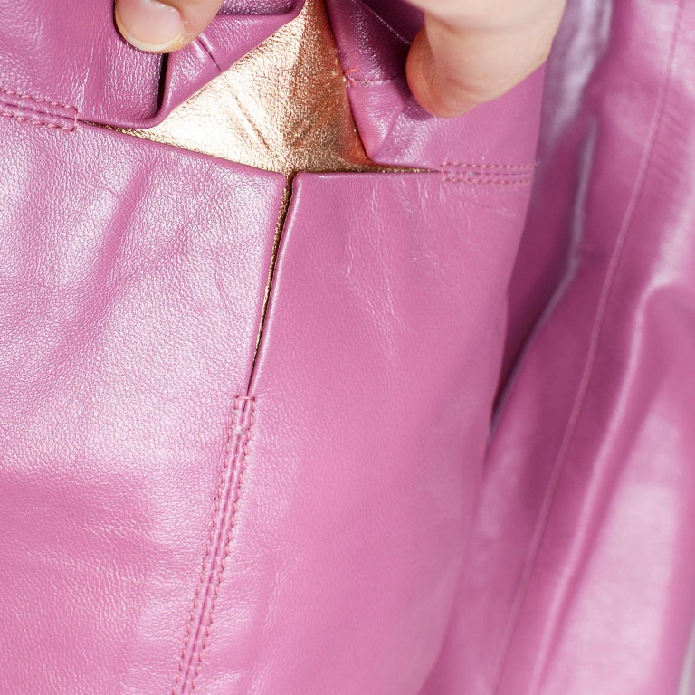 Chanel 2001 Cruise Pink Collarless Lambskin Leather Jacket W Gold Star Cutouts 5