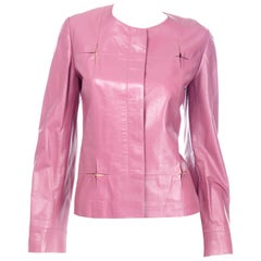 Chanel 2001 Cruise Pink Collarless Lambskin Leather Jacket W Gold Star Cutouts