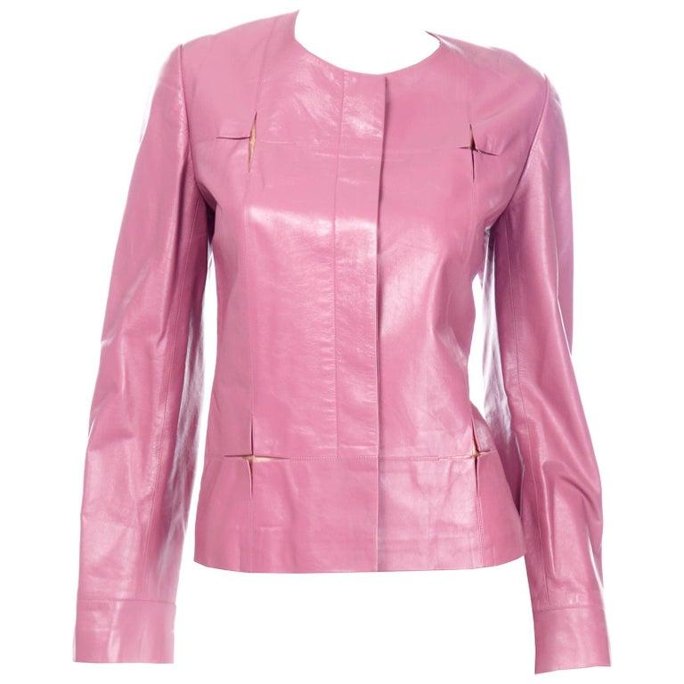 Chanel 2001 Cruise Pink Collarless Lambskin Leather Jacket W Gold Star Cutouts