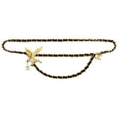 Chanel 2001 Gold & Black Leather Laced Belt with Crystal Eagle & CC
