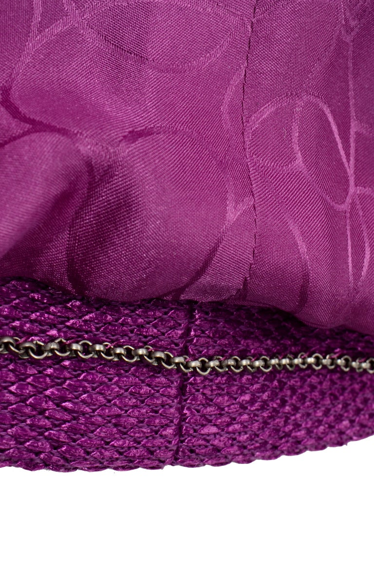 Chanel 2001 Magenta Purple Metallic Cropped Jacket w Asymmetrical Zipper For Sale 6