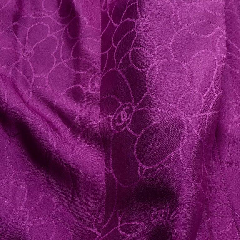 Chanel 2001 Magenta Purple Metallic Cropped Jacket w Asymmetrical Zipper For Sale 7