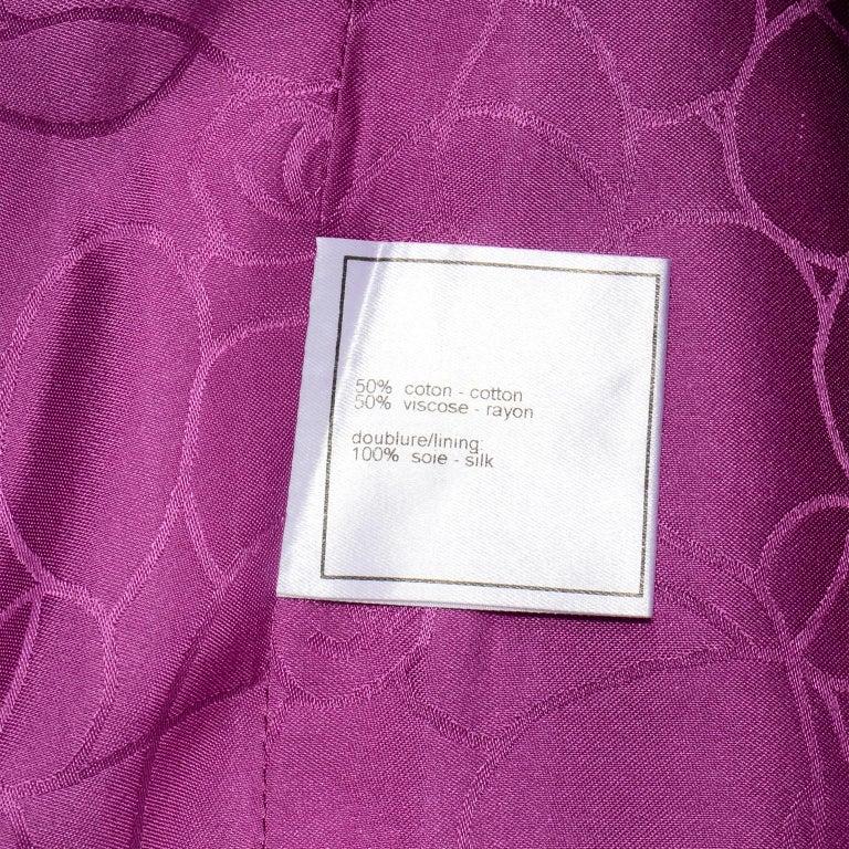 Chanel 2001 Magenta Purple Metallic Cropped Jacket w Asymmetrical Zipper For Sale 8