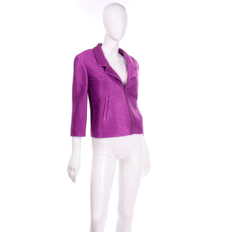 Chanel 2001 Magenta Purple Metallic Cropped Jacket w Asymmetrical Zipper In Excellent Condition For Sale In Portland, OR