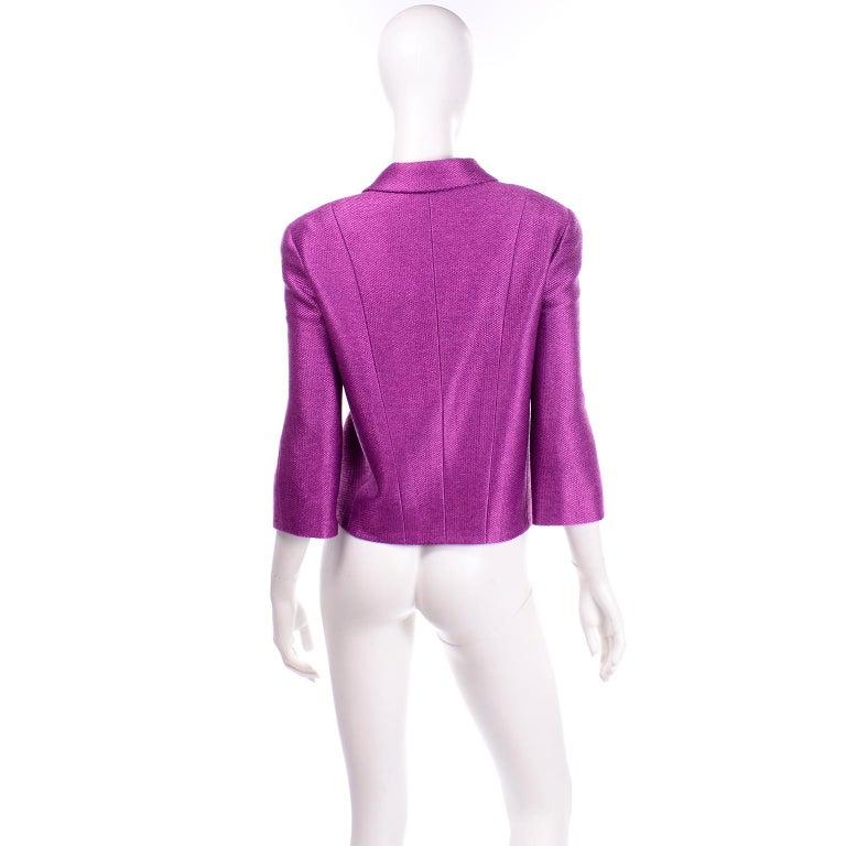 Women's or Men's Chanel 2001 Magenta Purple Metallic Cropped Jacket w Asymmetrical Zipper For Sale