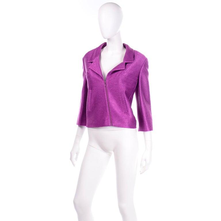 Chanel 2001 Magenta Purple Metallic Cropped Jacket w Asymmetrical Zipper For Sale 1