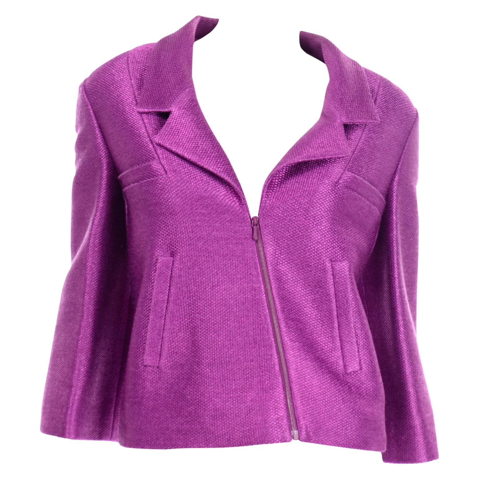 Chanel 2001 Magenta Purple Metallic Cropped Jacket w Asymmetrical Zipper