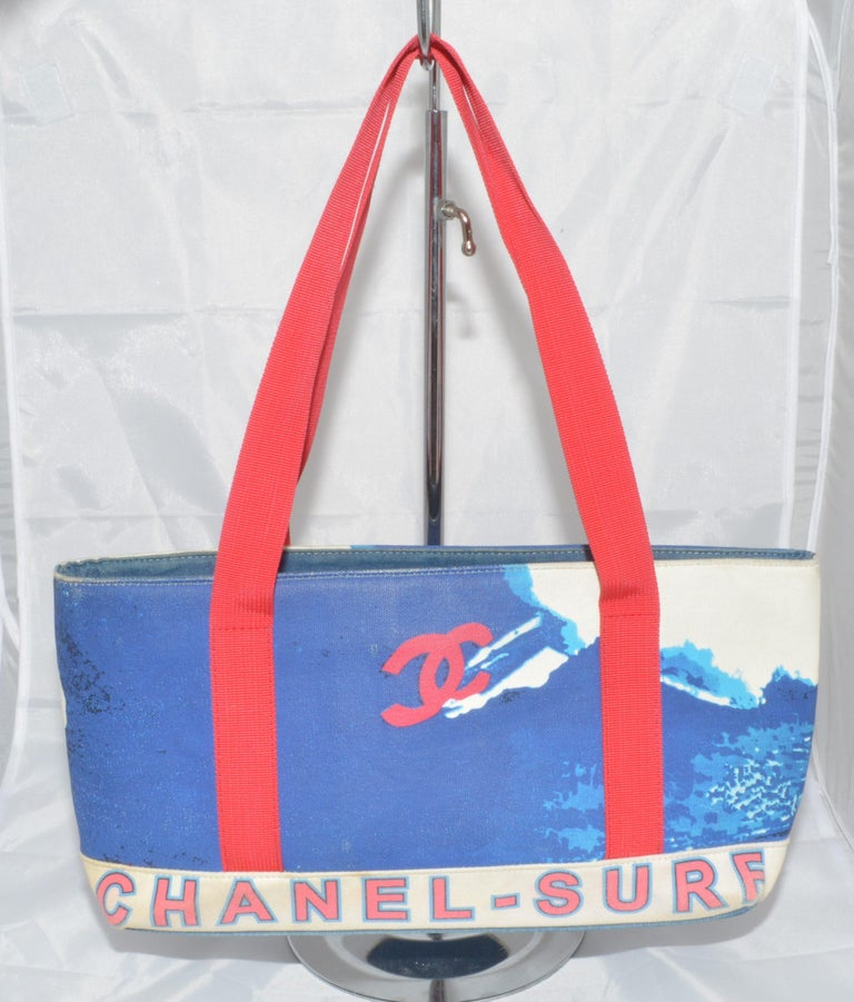 Purple Chanel 2002 Canvas Surf Collection Tote Bag
